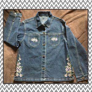 Jackets & Blazers - Flowers embroidered denim jacket